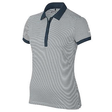Nike Womens Victory Stripe Dri-Fit Polo Shirt (Large, Armony Navy ...