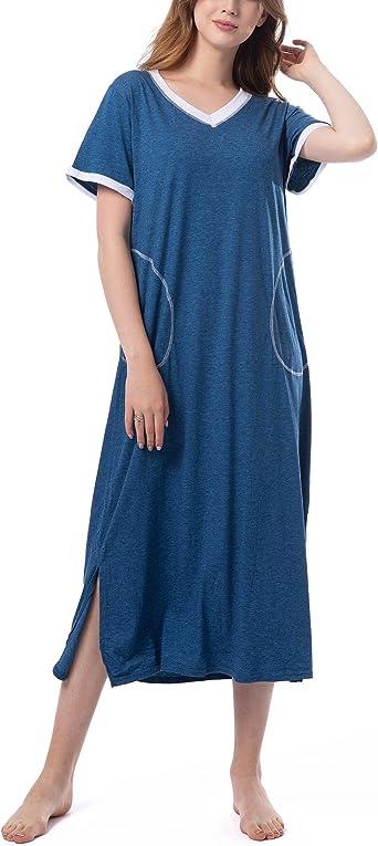 Pijamas de Manga Corta Mujer Camisón Verano Vestido de Dormir Camisa de Noche con Cuello en V para Mujer Camisónes 2019: Amazon.es: Ropa y accesorios