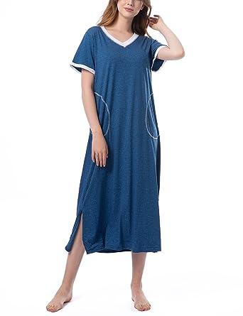 bas prix a4f49 d0c34 Chemise de Nuit Femme Longue Coton Manche Courte 2 Poches Robe de Nuit  Pyjama