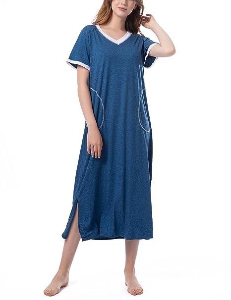 f1cdaef80 Pijamas de Manga Corta Mujer Camisón Verano Vestido de Dormir Camisa de  Noche con Cuello en V para Mujer Camisónes 2019  Amazon.es  Ropa y  accesorios