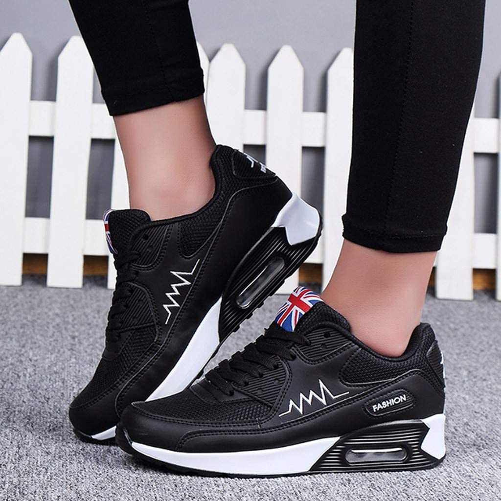 Womens Sneakers Air Cushion Trainters Fashion Casual Breathable Lace-up Athletic Fitness Outdoor Sport Jogging Running Shoes