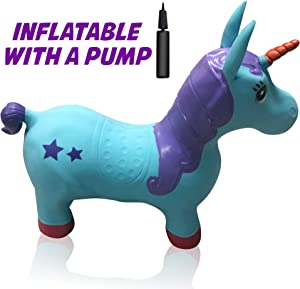 Hoovy Inflatable Bouncy Horse with Pump | Bouncing White Unicorn Ride on Toy for Kids | Unlimited Animal Riding Fun & Ideal Jumping Hopper Gift for Toddlers & Children | Portable & Travel Friendly