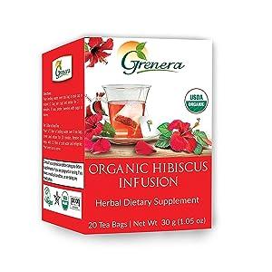 Grenera Organic Hibiscus Infusion 20 Tea Bags / Box – Organic, Non – GMO, Gluten Free, Caffeine free
