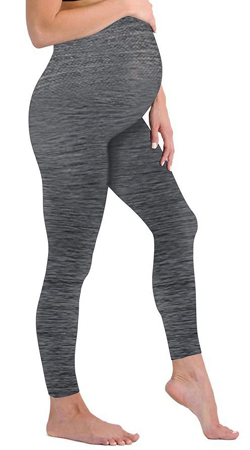 Maternity-Leggigngs Touch Me Maternity Leggings Black Navy Grey Soft Solid Stretch Seamless Tights One Size Fits All Active Wear Yoga Gym Clothes Light Grey Leggings