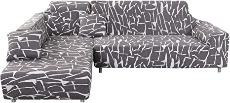 2 Pcs Covers for L Shaped Corner Sofa Covers Sectional Chaise Stretch Elastic