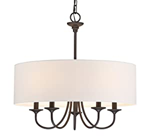 "Kira Home Quinn 21"" Traditional 5-Light Chandelier + White Linen Drum Shade, Oil-Rubbed Bronze Finish"