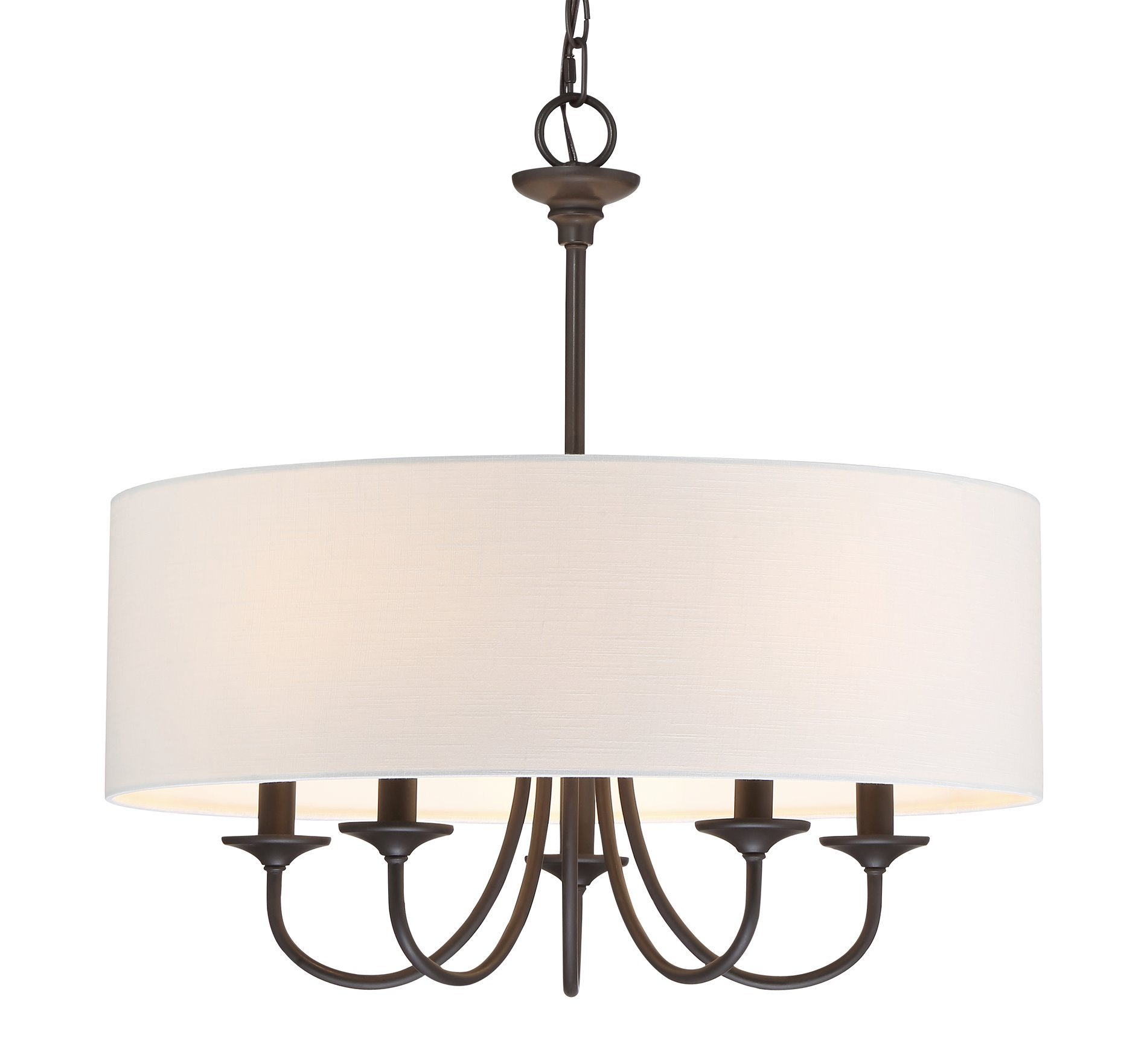 Revel Quinn 21'' Traditional 5-Light Chandeiler + White Linen Drum Shade, Oil-Rubbed Bronze Finish by Revel