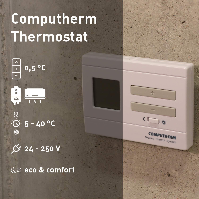 Raum-Temperaturregler /& -messer Wand-Thermostat mit Thermometer f/ür Heizung Klimaanlagen /& Fu/ßbodenheizung COMPUTHERM Q3 digitaler Raumthermostat