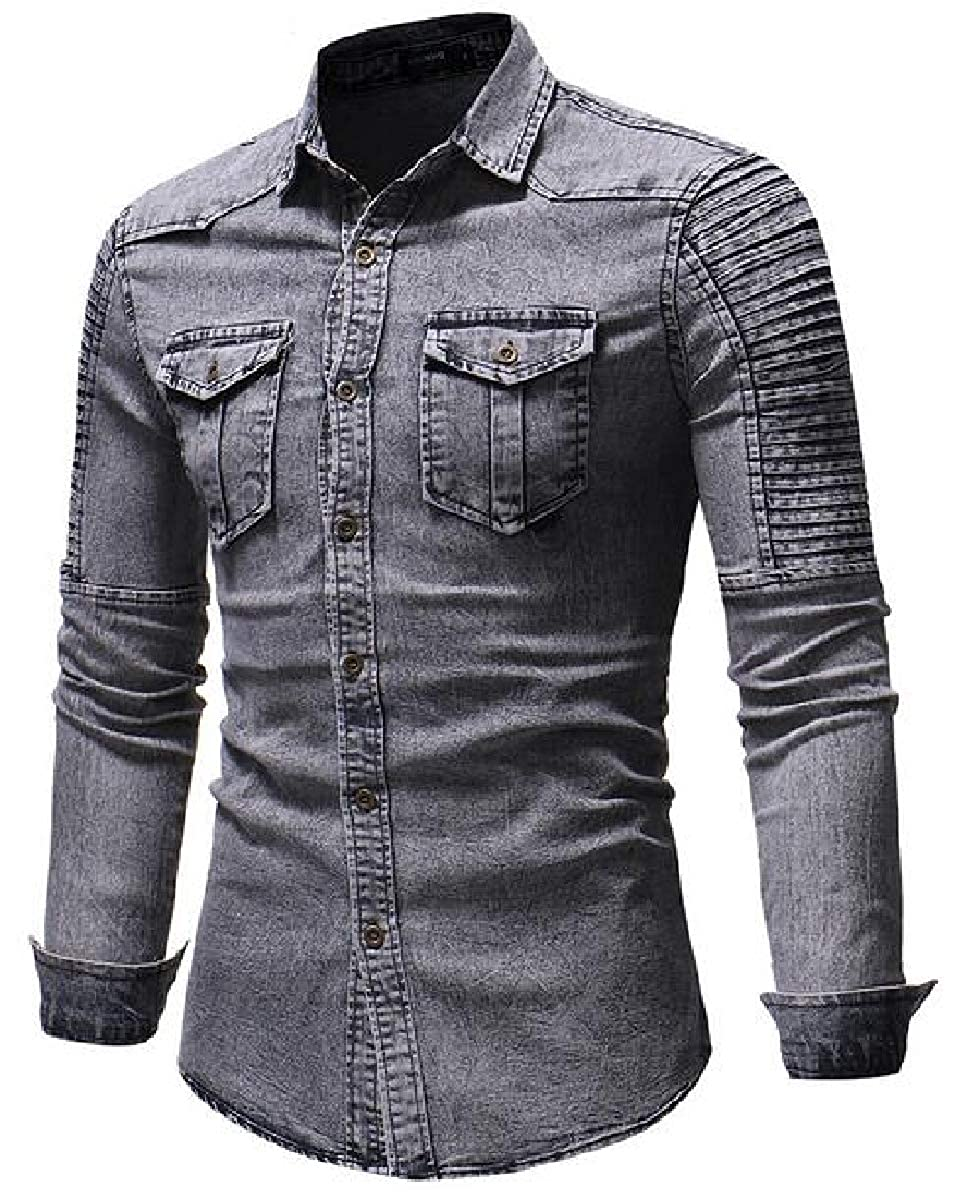 Tymhgt Men Ruched Denim Work Shirts Long Sleeves Button-Down Shirts