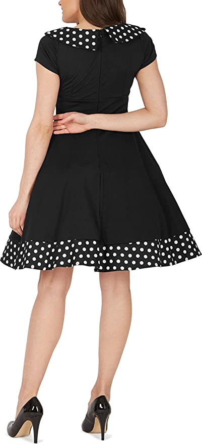 BlackButterfly Rhianna Vintage Polka Dot Pin Up Dress (Black, US 8) at Amazon Womens Clothing store: