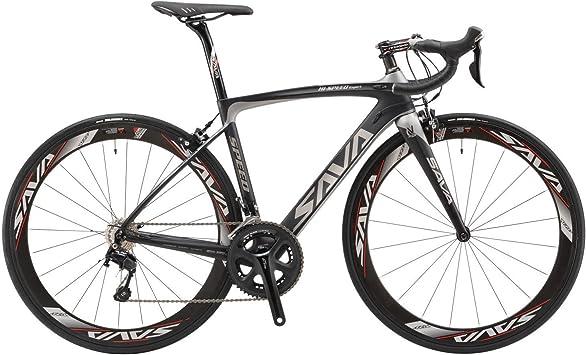 Sava Bicicleta de Carretera de Fibra de Carbono 700C Shimano 5800 22-Velocidad Sistema de Transmisión/Frenado Maxxis Neumáticos FiZi. K Cojín Bicicleta Carbono Urbana (Negro & Gris, 520Mm): Amazon.es: Deportes y aire libre