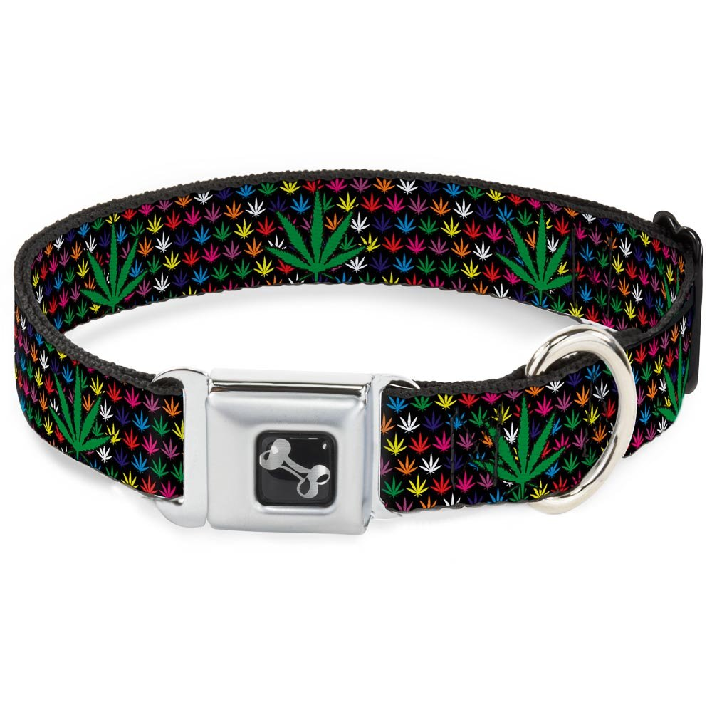 Buckle-Down Seatbelt Buckle Dog Collar Marijuana Garden Black Multi color 1  Wide Fits 9-15  Neck Small