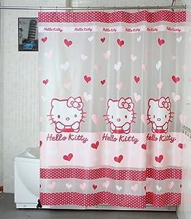 melife cartoon cat waterproof pvc shower curtain bath curtainsred