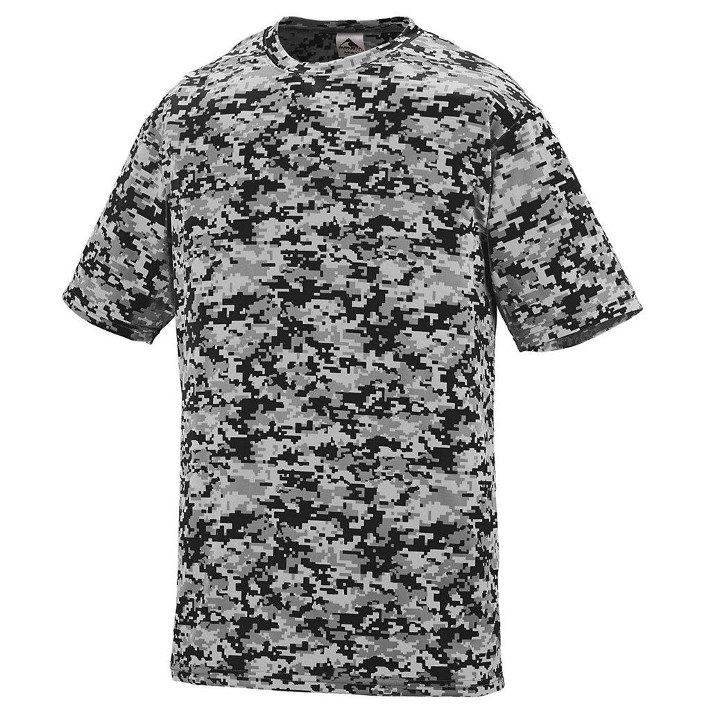 August Youth Digi Camo Wicking Shirt Style 1799 (Small, Black Digi)