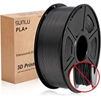 SUNLU 3D Printer Filament PLA Plus, 1.75mm PLA Filament, 3D Printing Filament Low Odor, Dimensional Accuracy +/- 0.02 mm, 2.2 LBS (1KG) Spool 3D Filament,Black PLA+