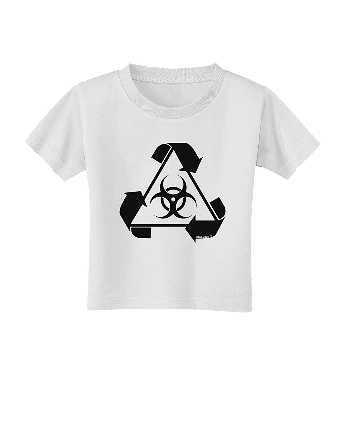 TooLoud Recycle Biohazard Sign Black and White Toddler T-Shirt