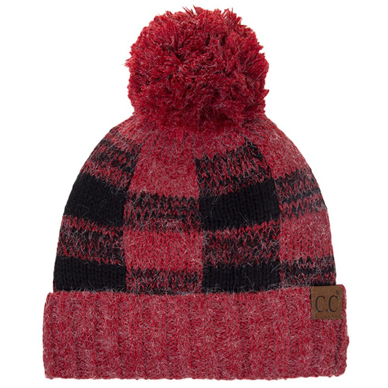ScarvesMe CC Buffalo Check Pattern Knitted Beanie Hat with Pom Pom (Red/Black)