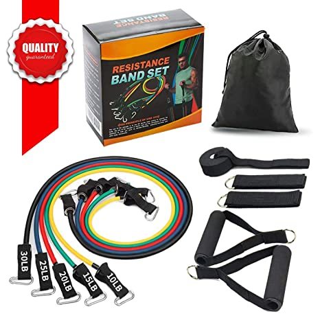 4608959202d4 SMAID Premium Resistance Bands Set - Include 5 Stackable Exercise Bands  with Waterproof Carrying Case, with Door Anchor Attachment, Legs Ankle  Straps ...