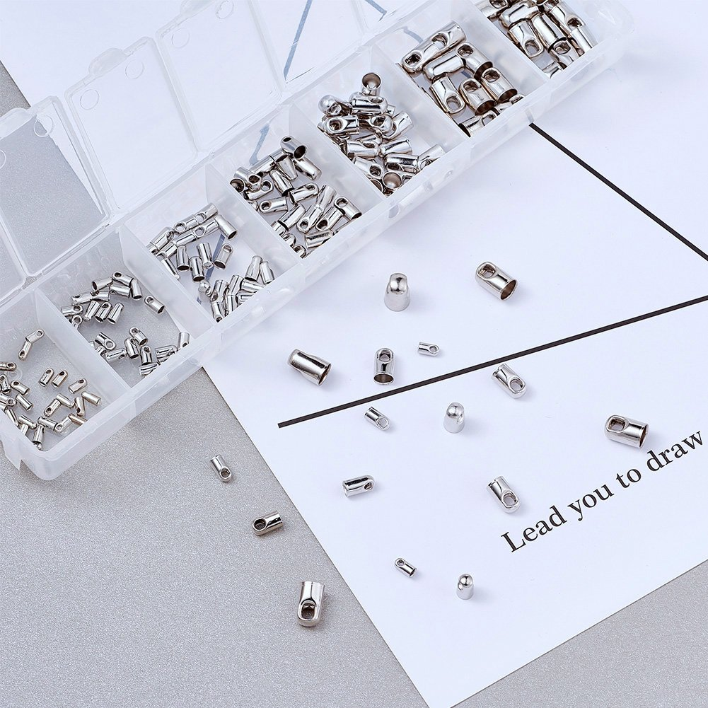 Pandahall 100pcs 304 Stainless Steel Fold Over Crimp Cord Ends Fold Over Cord Ends Leather Ribbon Ending Clasp Tips End Clamp Jewelry Connector Components Jewelry Making 9.5x4x3mm