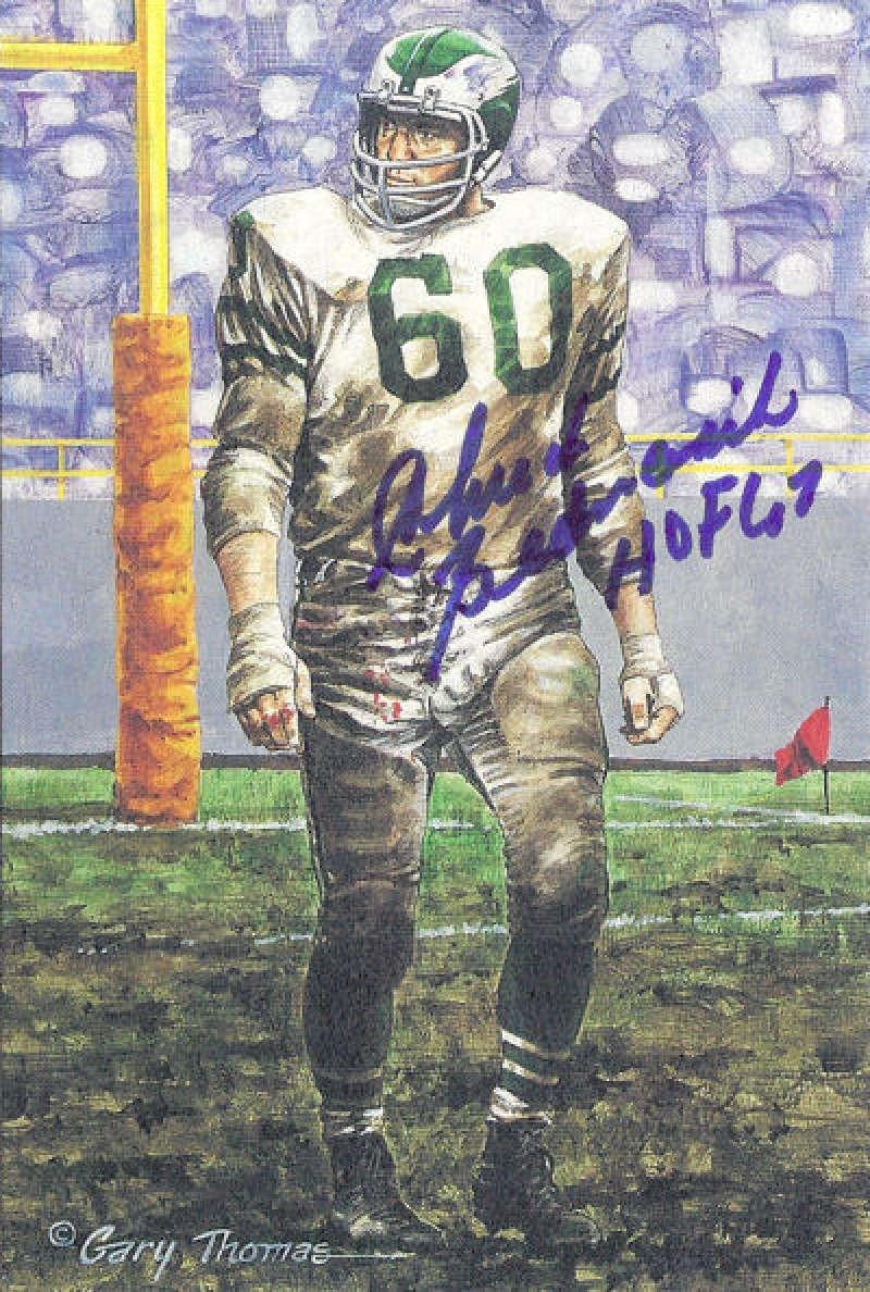Chuck Bednarik Signed Philadelphia Eagles Goal Line Art Card HOF Blue