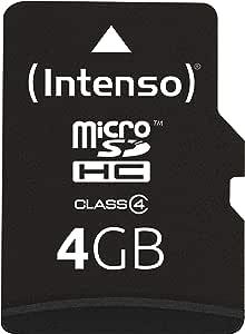 Intenso Microsdhc Memory Card, Class 4, 4 GB, Black