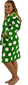 BY LORA Terry Cotton Girls' Hooded Robe, Apple Green, Large