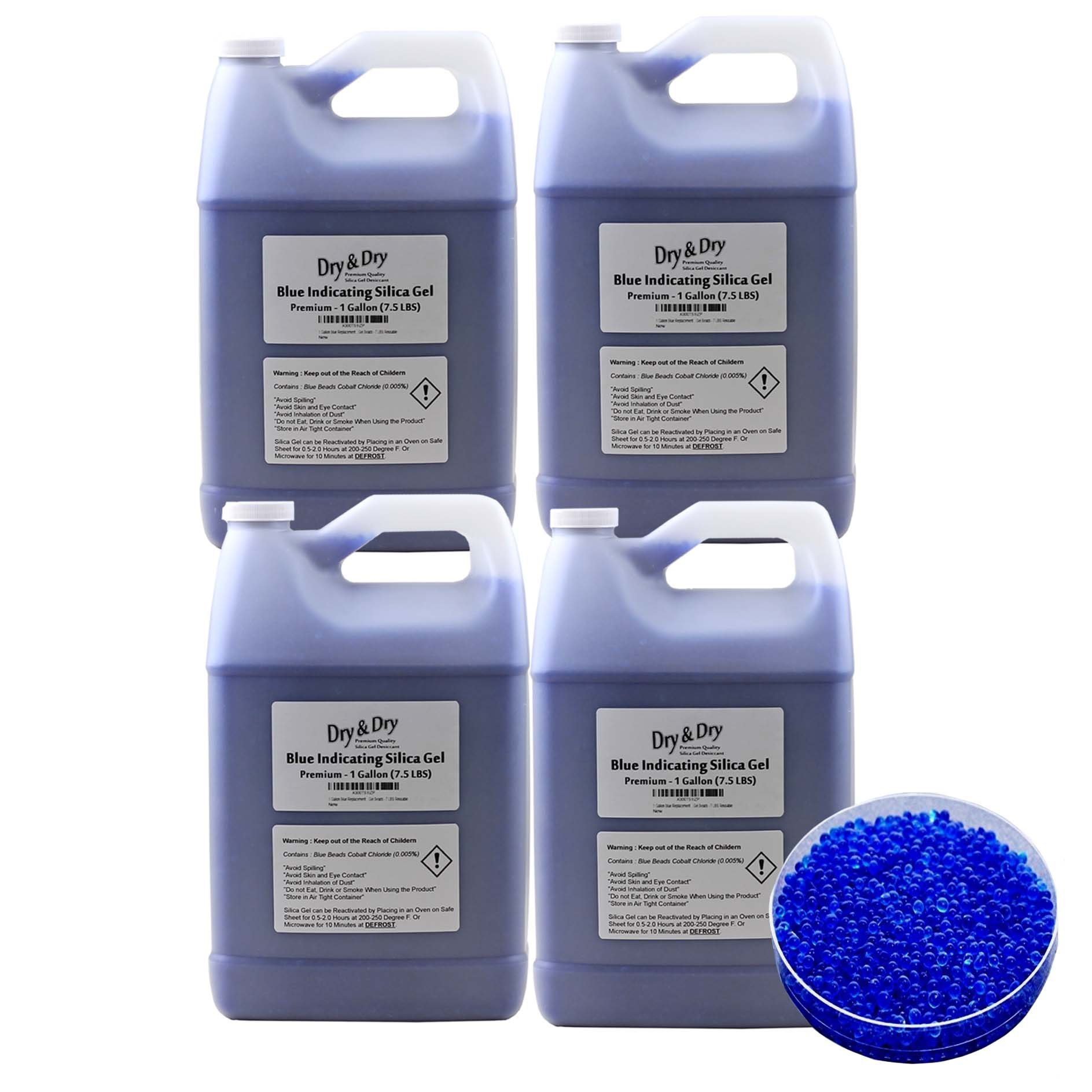 Dry & Dry (30 LBS) Premium Blue Indicating Silica Gel Desiccant Beads(Industry Standard 2-4 mm) - Reusable