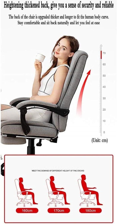 Barstolar Xiuyun hem kontor skrivbord stol spelstol stol stol dubbel svamp rygg 155 ° bekväm vilande med fotstöd hem studierum stol bärkapacitet 150 kg (färg: Ljusgrå) Ljusgrå