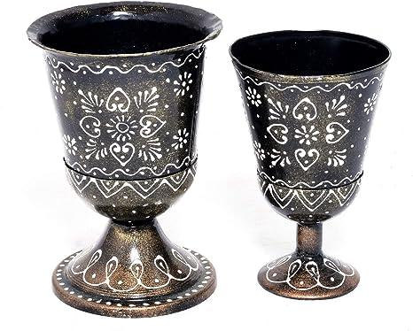 Amazon Com Eurasia Premium Antique Items Decorative Wine Glass Set Of Two Showpiece Home Decor Decoration Gift Vintage Collective Home Kitchen