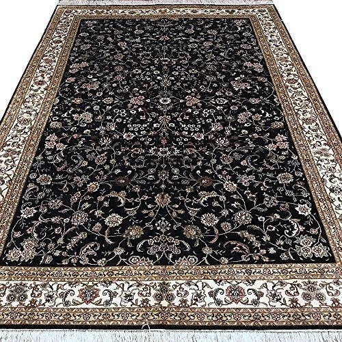 Yilong 6'x9′ 300Lines Handmade Silk on Silk Rugs Oriental Istanbul Seven Mountain Flower Carpet for Living Room