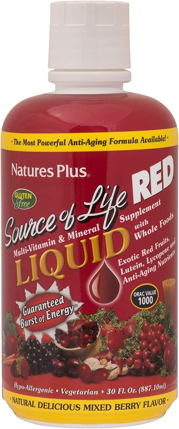 NaturesPlus Source of Life Red Liquid – 30 fl oz – Mixed Berry Flavor – Red Superfood Whole Food Multivitamin, Antioxidant – Anti-Aging Nutrients – Energy Boost – Vegetarian, Gluten-Free – 30 Servings