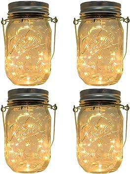 Mason Jar Solar Light Set  Solar Light Mason Jars  Mason Jar Lanterns  Rustic Lighting