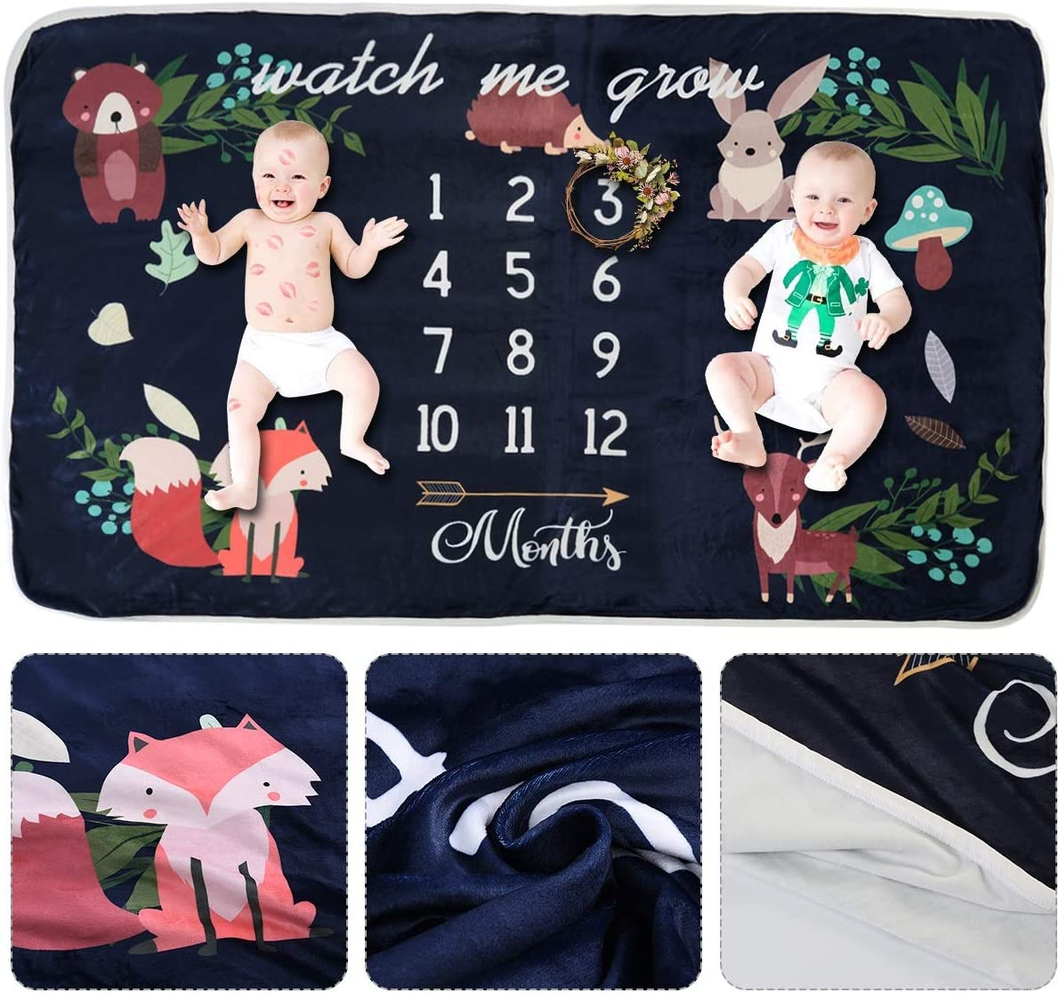 0-12M, White 35.4inx63in Baby Monthly Milestone Blanket Photography Props Backdrop Blanket Shower Gift for Boys Girls or Twins