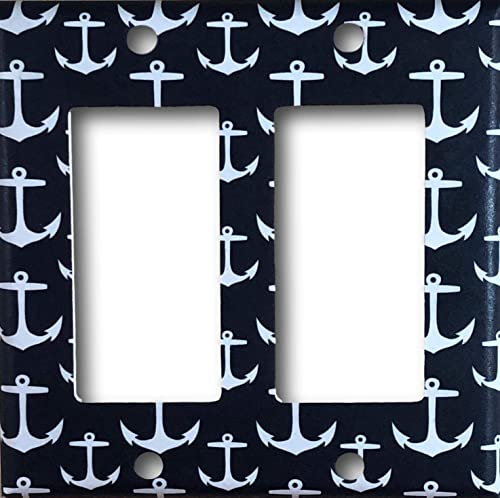 Navy Blue and White Anchor Design Light switch plate cover
