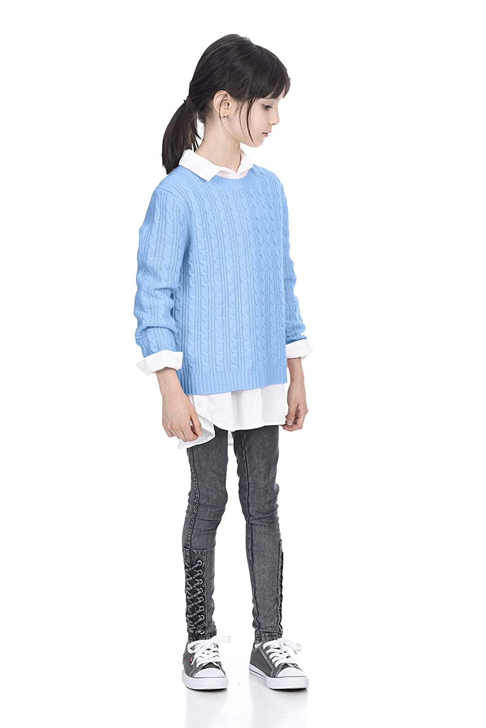 State Cashmere Kids Cable Crew Neck Long Sleeve Wool Cashmere Sweater