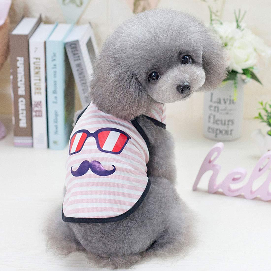 JINHONGH Chaleco a Rayas de Primavera y Verano para Mascotas (Color : Pink, Size : S)