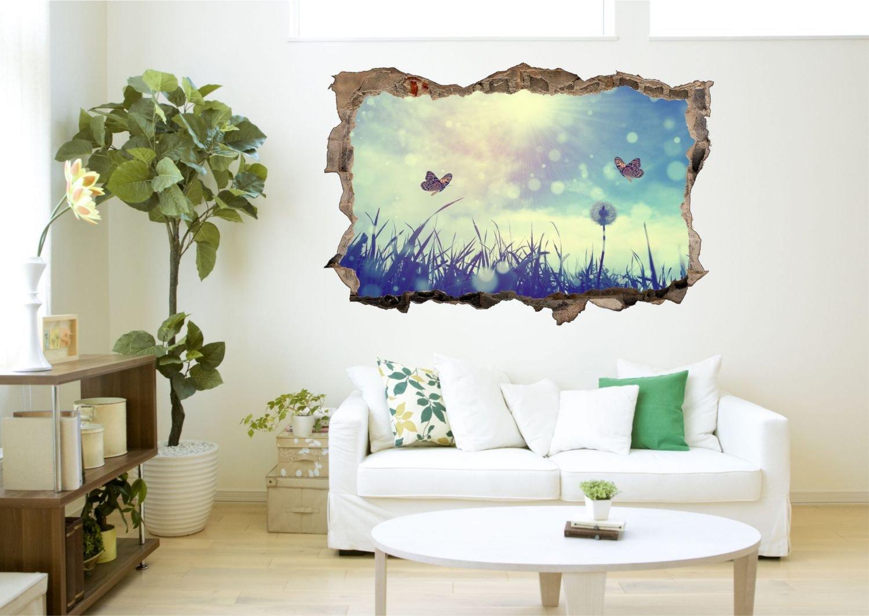 Schmetterling Sonne Wiese Wandtattoo Wandsticker Wandaufkleber R0664