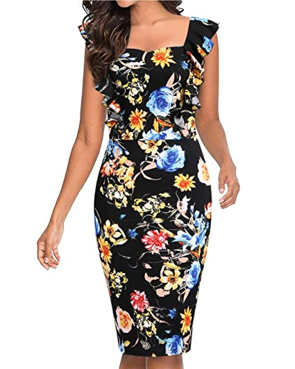53d9f9c6a3cd5 Women's Bodycon Dresses Cocktail Party Vintage Ruffle Floral Pencil Sheath  Swing Casual for Women