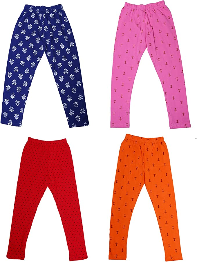 Indistar Girls Super Soft and Stylish Cotton Printed Leggings Pack Of 3