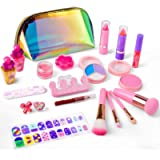 AstarX Kids Makeup Kit for Girls, Real Washable Cosmetics Safe & Non-Toxic Beauty Girls Makeup Toy Set with Fashion Bag