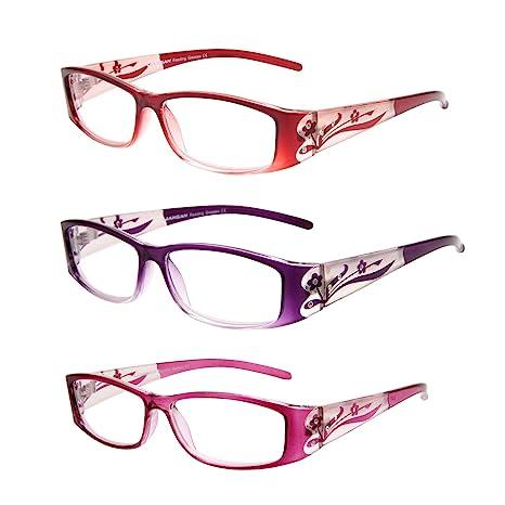 LianSan Designer Lot de 3 paires de lunettes de lecture, contre la fatigue  oculaire, bd4dca0d5d58