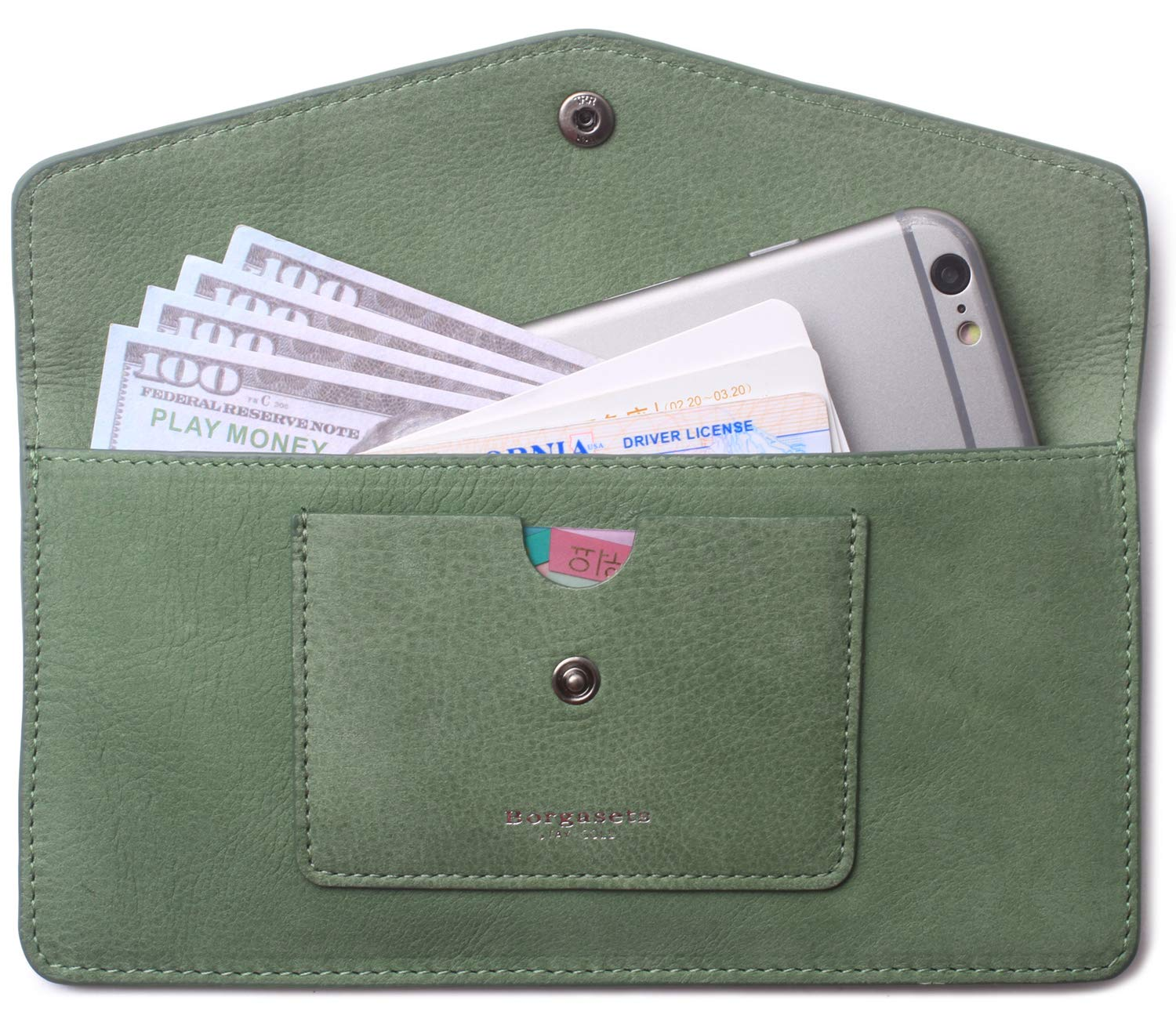 Women's Wallets Leather RFID Credit Card Holder Thin Envelope Purse Bifold Ladies Cluth for Women (Nubuck-Green)