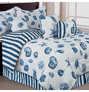 Seashells  Beach Themed  Nautical Queen Comforter Set   Toss Pillows  7  Piece Bed. Amazon com  Seashells  Beach Themed  Nautical Queen Comforter Set