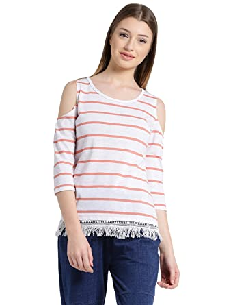 22c1e60a591ad MANOLA Tops for Women in Western wear - Cotton Blend Material - Striped  Pullover Tops for Ladies - Women s Cold Shoulder Top - Stylish Tops by for  Ladies ...