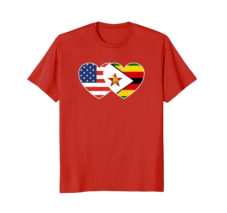 Zimbabwe USA Flag Twin Heart TShirt for Zimbabwean Americans-alottee gift