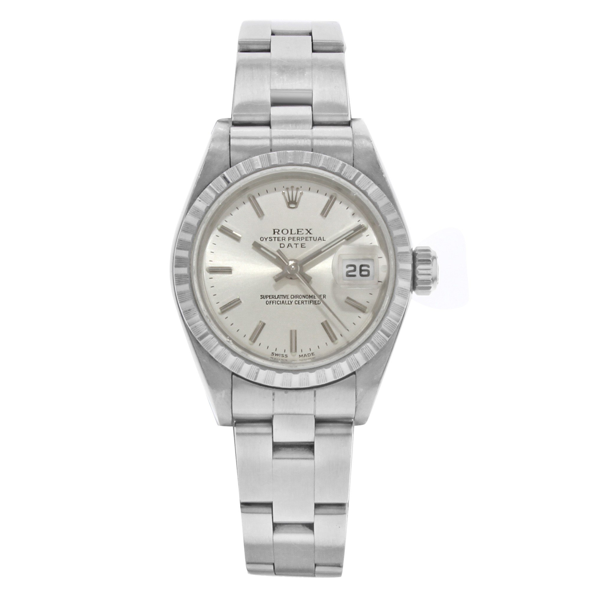 Rolex Date 26mm 79240 Stainless Steel Engine Turned Bezel Automatic Ladies Watch B/P (Certified Pre-owned)