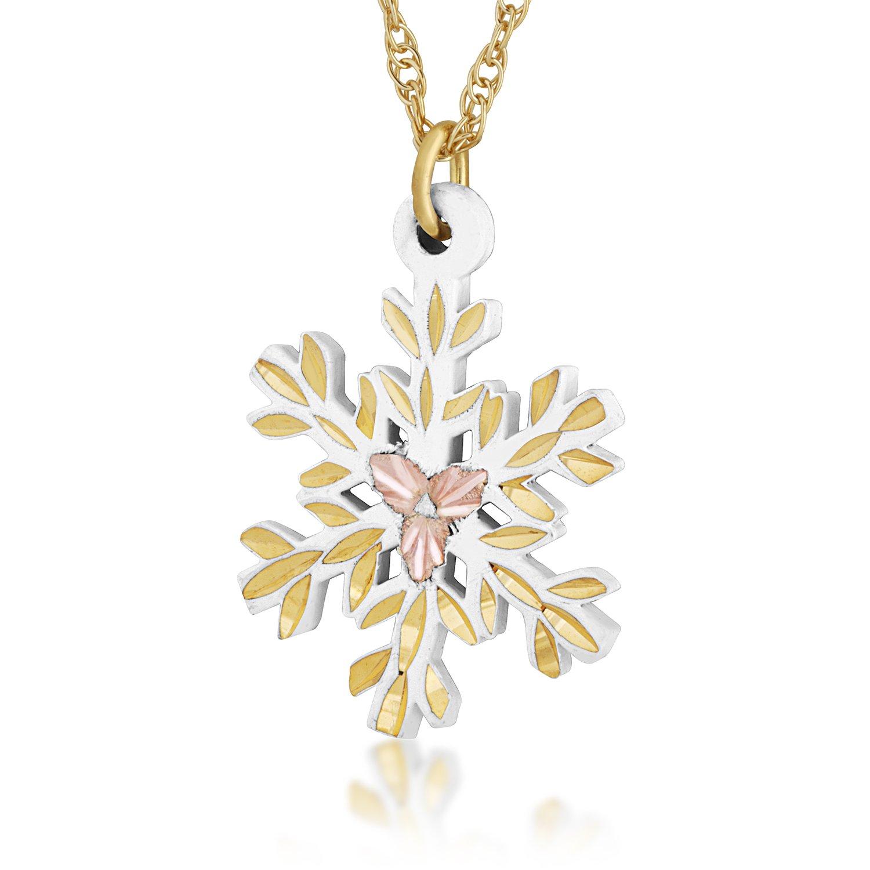 White Powder Coat Snow Flake Pendant Necklace, 10k Yellow Gold, 12k Green and Rose Gold Black Hills Gold Motif, 18''