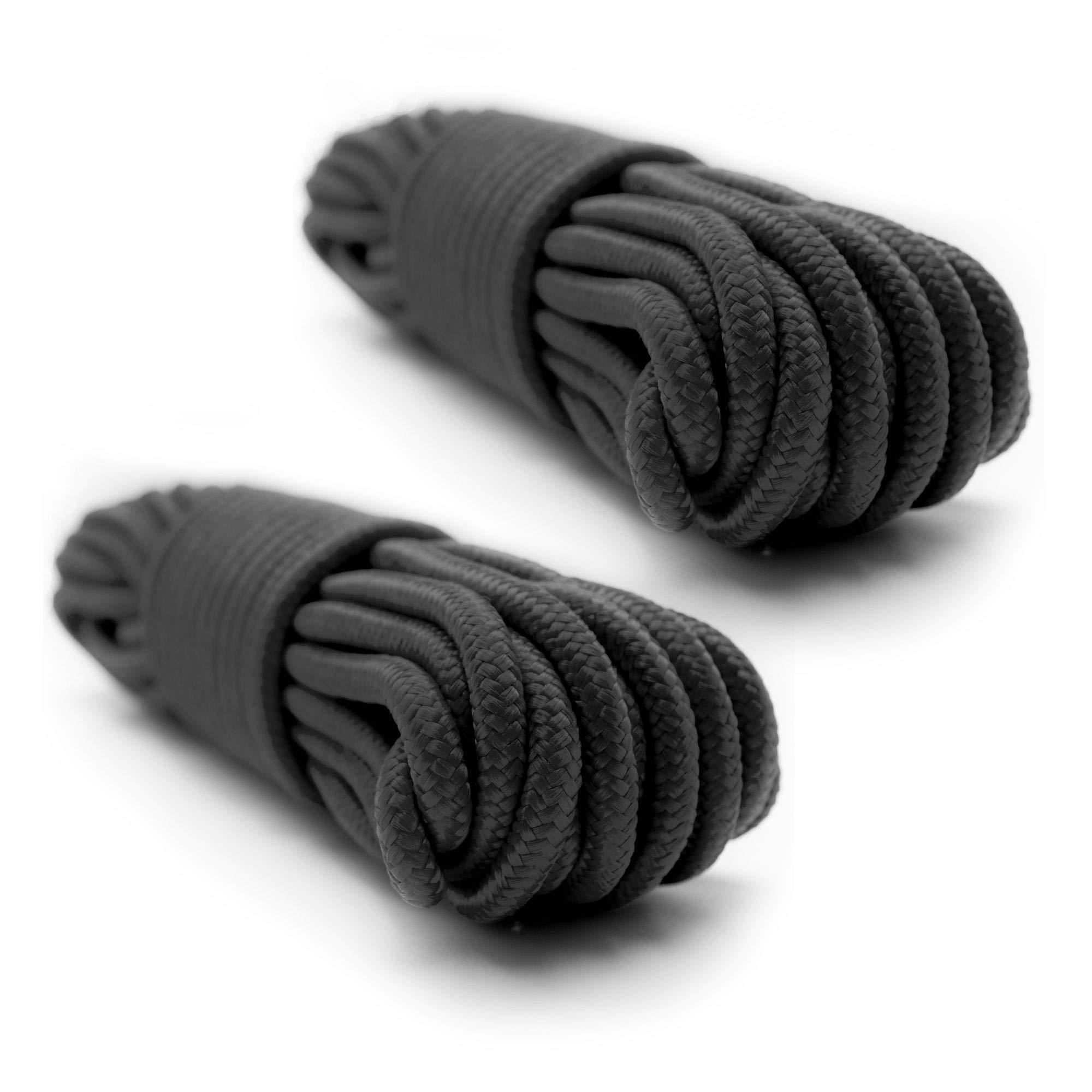 Emergency Zone 9mm (3/8 inch) Nylon Braided, 50 Foot, Multi-Purpose Rope. Black 2 Pack