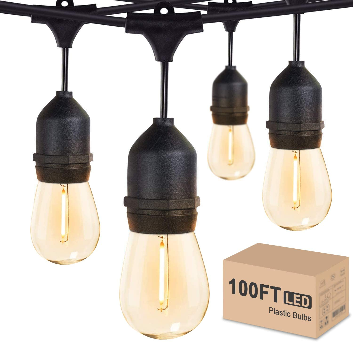 Outdoor String Lights LED 100FT Commercial Grade Heavy Duty Light String Lights with 30 Sockets 32 Shatterproof Plastic Bulbs Include 2 Spare S14 Dimmable Edison Bulbs Patio Market Cafe String Lights - -