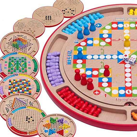 LJSHU Hölzerne Zehn-in-Eins-Kontrolleure des Puzzle-Brettes, die das Schach-Fünf-Kindschacharena-Schachkinder-Desktop-Elternt